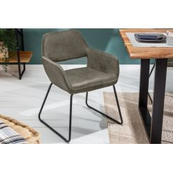 Retro stolička s operadlom Pinto mikrovlákno šedá čierna