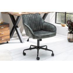 Kancelárska stolička s operadlom Torino zamat zelená šedá