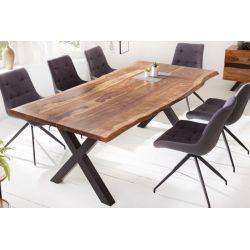 Industriálny stôl do jedálne Meridian X 200 cm kov sheesham masív prírodný