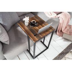 Bočný stolík Fusion 43 cm s držiakom na tablet kov masív akácia