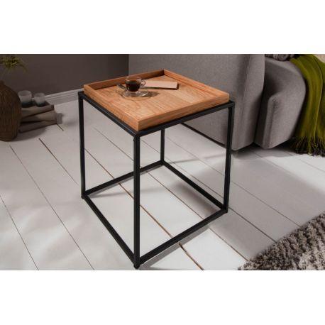 Industriálny bočný stolík Fusion 40 cm s podnosom kov drevo prírodný