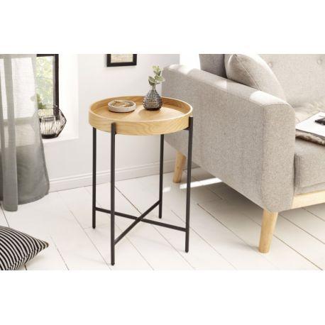 Okrúhly bočný stolík Fusion 43 cm s podnosom kov drevo prírodný