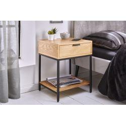 Nočný stolík so zásuvkou Fusion 40 cm kov drevo prírodný