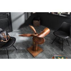 Dizajnový jedálenský stôl Propeller 94 cm kov flambovaný medený SAMOSTATNÝ RÁM