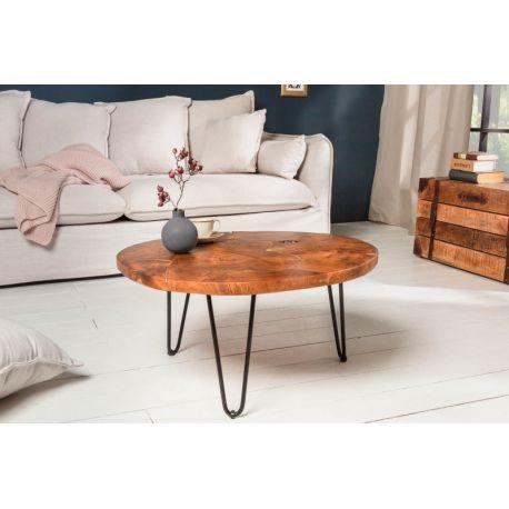 Okrúhly konferenčný stolík Mozaika 70 cm teak drevo kov