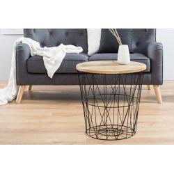 Sada 2 okrúhlych bočných stolíkov Boutique 52 cm s úložným priestorom mango kov čierny