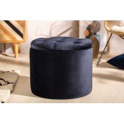 Luxusná okrúhla taburetka Gilt 50 cm s úložným priestorom zamat čierna