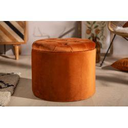 Luxusná okrúhla taburetka Gilt 50 cm s úložným priestorom zamat hrdzavá hnedá