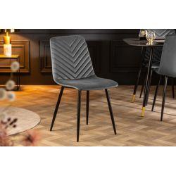 Sada 4 elegantných stoličiek Meridian zamat šedá čierna