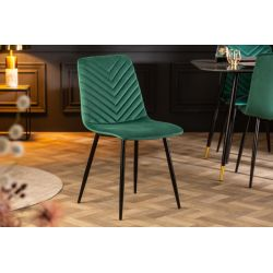 Sada 4 elegantných stoličiek Meridian zamat zelená čierna