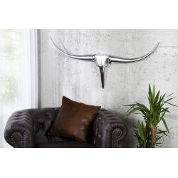 Nástenná dekorácia Silver Bull 99 cm hliník strieborná