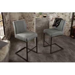 Sada 2 barových stoličiek Privilege s podnožkou mikrovlákno šedá
