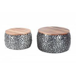 Sada 2 okrúhlych konferenčných stolíkov Mosaic Stone 65 cm kov masív hnedá strieborná