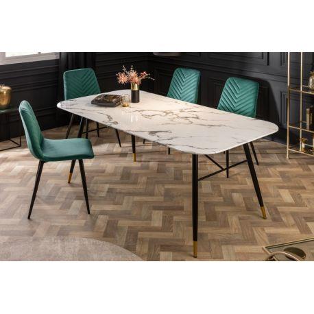 Retro jedálenský stôl pre 4 až 6 osôb Lenoir 180 cm mramorový vzhľad biely