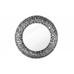 Okrúhle nástenné zrkadlo Mosaic Stone 80 cm kov sivý rám