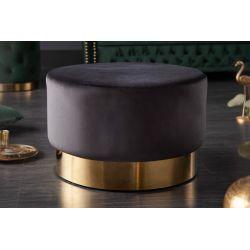 Okrúhla taburetka Gilt 55 cm zamat kov čierna zlatá