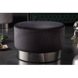 Okrúhla taburetka Gilt 55 cm zamat kov čierna strieborná