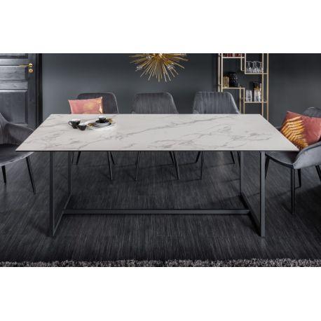Jedálenský stôl Spark 200 cm keramika sklo mramorový vzhľad biely
