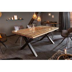 Jedálenský stôl Verso X 180 cm teak masív kov prírodný hnedý čierny