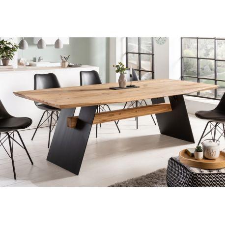Jedálenský stôl Grand Oak 240 cm dub masív kov prírodný hnedý čierny