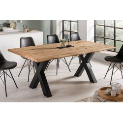 Masívny jedálenský stôl Verge 200cm dub 40 mm prírodný hnedý čierny