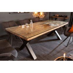 Jedálenský stôl Verso X 200 cm teak masív kov prírodný hnedý čierny