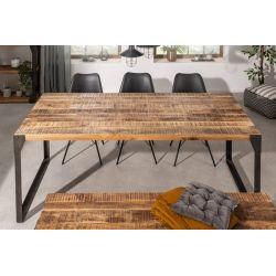 Jedálenský stôl Larnaka 160 cm mango masív kov prírodný hnedý čierny/šedý