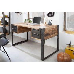 Industriálny písací stôl Larnaka 135 cm mango kov prírodný hnedý čierny