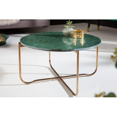 Konferenčný stolík Marquis 62 cm okrúhly kov mramor zelený zlatý