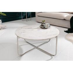 Konferenčný stolík Marquis 62 cm okrúhly kov mramor biely strieborný