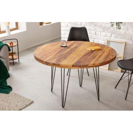 Okrúhly jedálenský stôl Mandalle 120 cm masív sheesham kov prírodný hnedý čierny