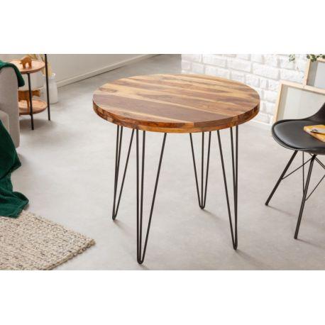 Okrúhly jedálenský stôl Mandalle 80 cm masív sheesham kov prírodný hnedý čierny