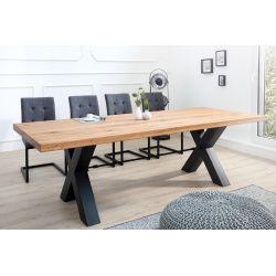Jedálenský stôl Saurus 200 cm masív divoký dub prírodný hnedý čierny