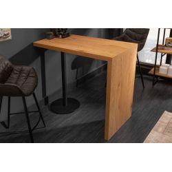 Barový stolík Magnus 120 cm dubový vzhľad prírodný hnedý čierny