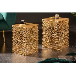 Sada 2 bočných stolíkov Folio kov hliník zlatá