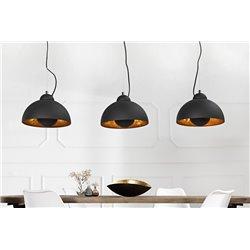 Závesná lampa Salon 3 čierna zlatá