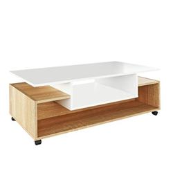 Konferenčný stolík Dilan 110 cm na kolieskach biely dub sonoma