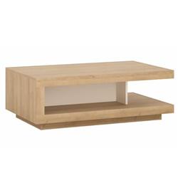 Konferenčný stolík Zena 106 cm hnedý dub riviera biely s extra vysokým leskom