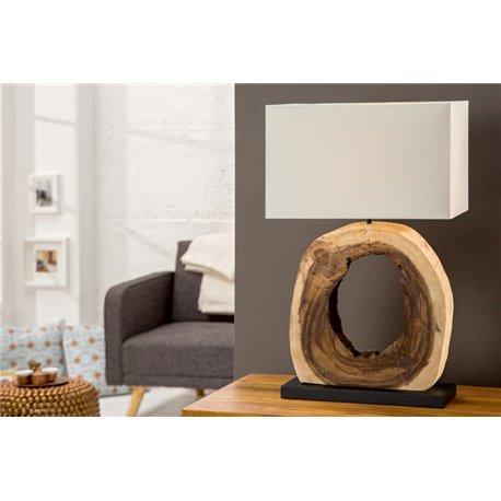 Stolová lampa Cycle z naplaveného dreva krémová