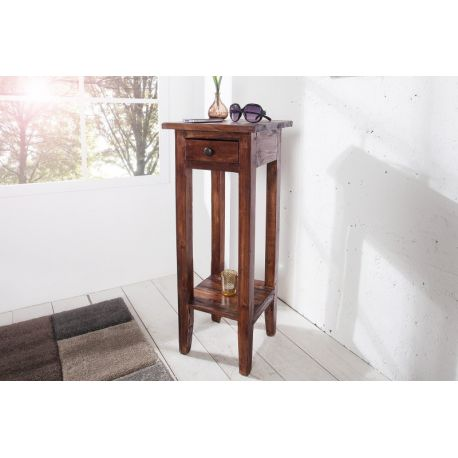 Vysoký bočný stolík Hemingway 75 cm s úložným priestorom mahagón starožitná hnedá