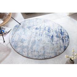 Okrúhly koberec do obývačky Modern Art 150 cm modrý béžový
