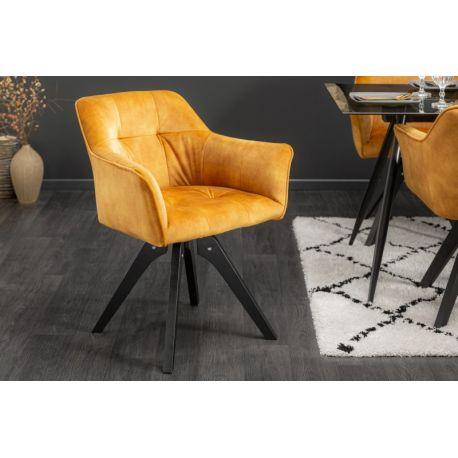 Otočná stolička Studio masív zamat horčicová žltá