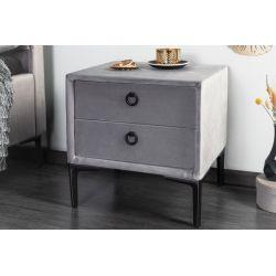 Nočný stolík Chicago 45 cm zamat strieborný šedý