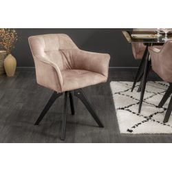 Otočná stolička Studio zamat šampanská čierna