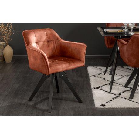 Otočná stolička Studio zamat medená čierna