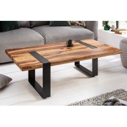 Konferenčný stolík Tango 120 cm kov masív sheesham prírodný hnedý čierny