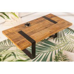 Konferenčný stolík Tango 120 cm kov masív mango prírodný hnedý čierny