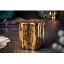 Bočný stolík Byzant kov hliník drevený vzhľad zlatý