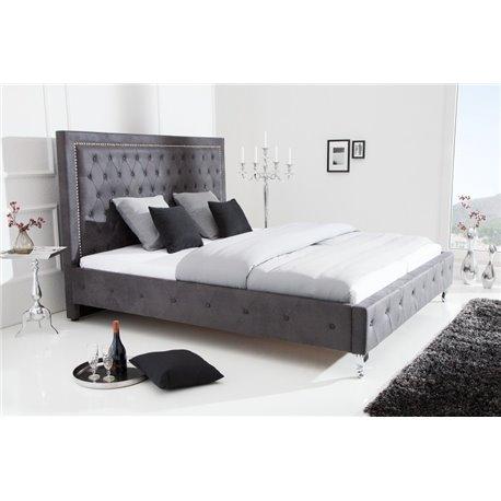 Extravagantná posteľ 180 x 200 cm starožitná sivá