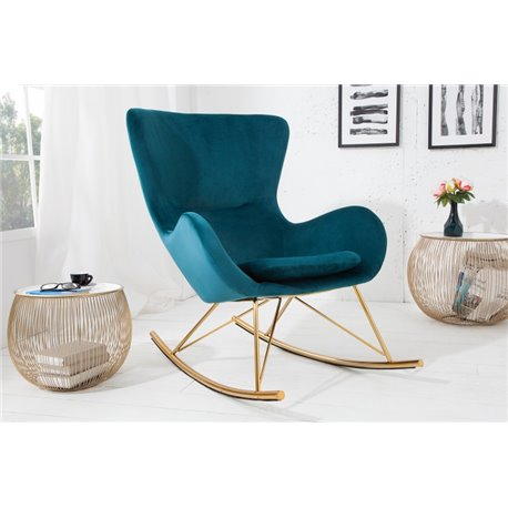 Hojdacia stolička Scandinavia Swing smaragdovo zelená zamat